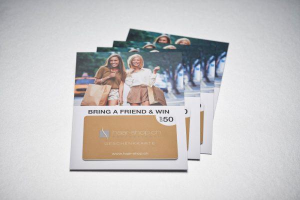 Goldene PVC-Geschenkkarte mit A7-Karte